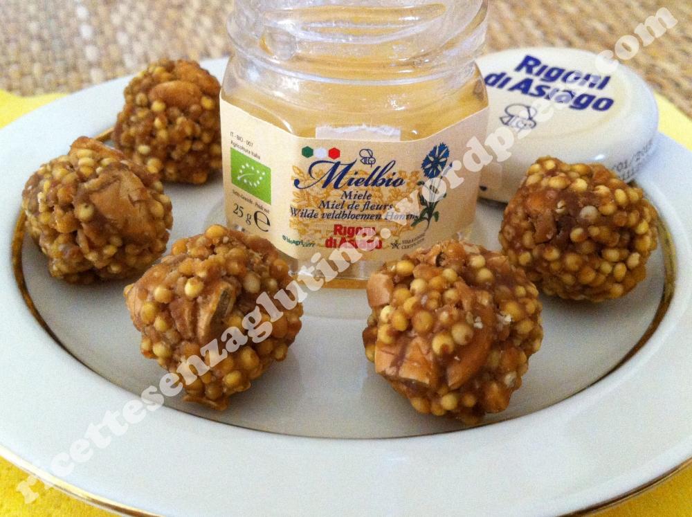 Snack dolce vegetariano naturalmente senza glutine con miglio miele e semi di zucca