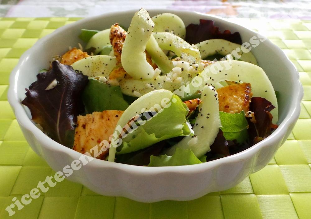 ricette senza glutine insalata caroselli, pollo, gomasio, aglio