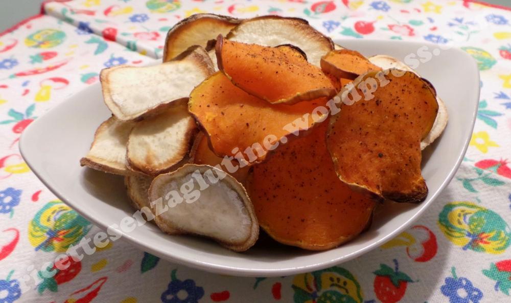 Chips di Patate Dolci Americane e Zucca al forno