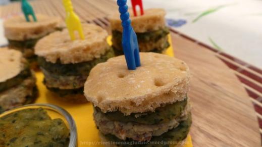 MiniHamburger Panito con crema patate e basilico