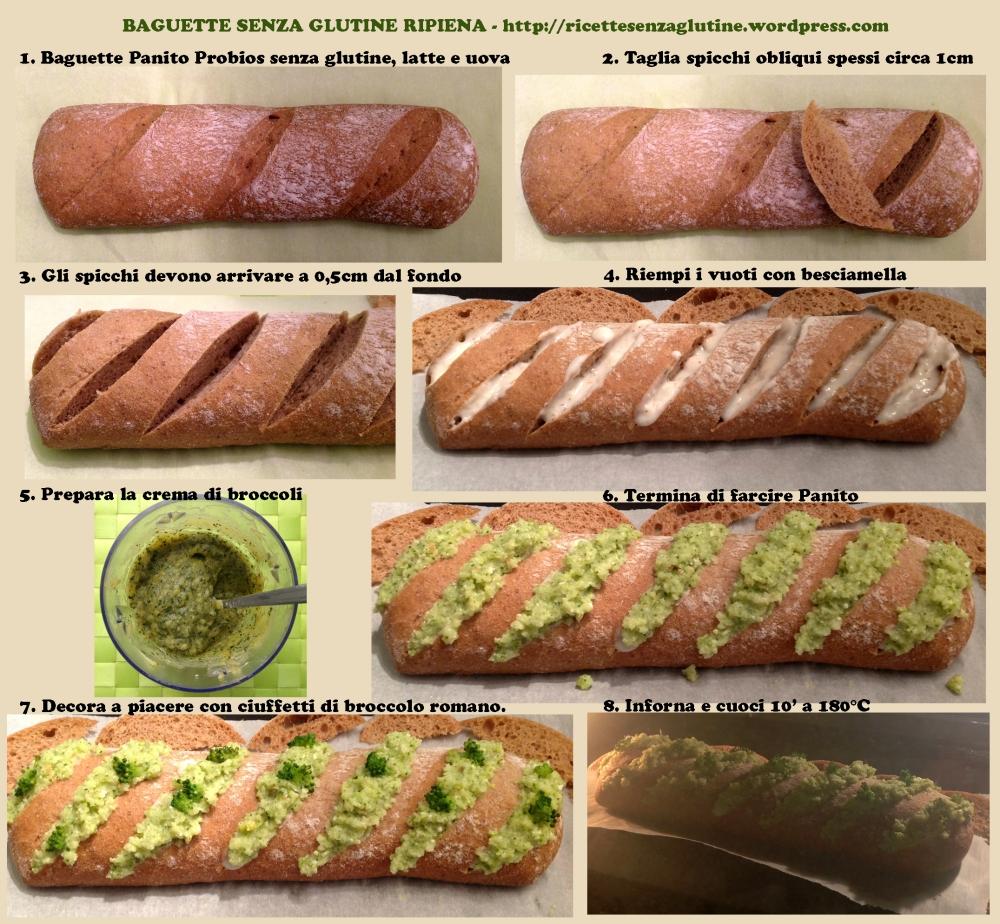 Baguette senza glutine Panito ripiena di besciamella e crema di broccoli