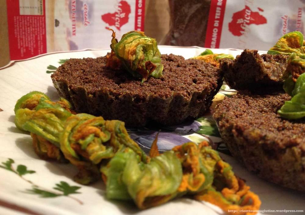 Tortini Salati con Grano di Teff Rosso e Fiori di Zucca