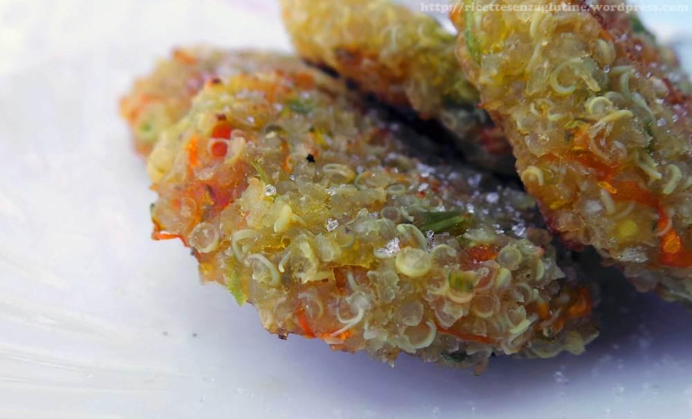 Frittelle al forno di quinoa e fiori di zucca senza glutine