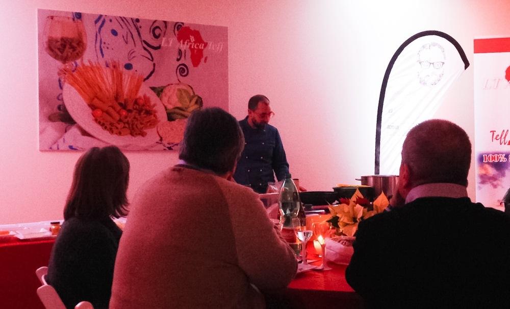 Show cooking gluten free chef Marcello Ferrarini da Lt Africa Teff