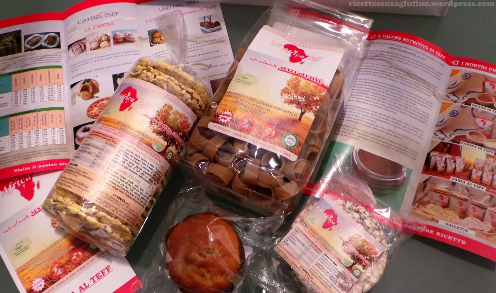 Prodotti senza glutine di teff Lt Africa gallette pasta gluten free