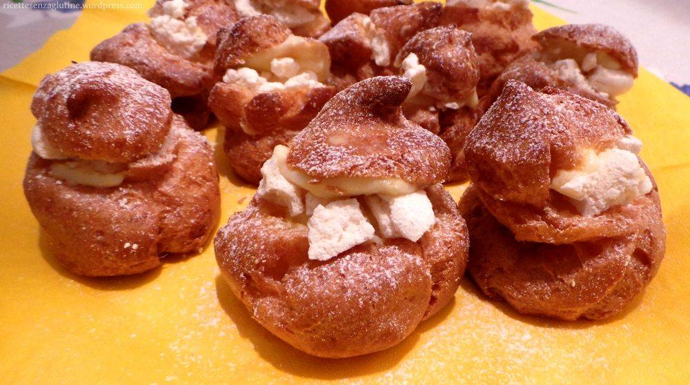 Bignè con crema al limone e meringhe ricetta senza glutine