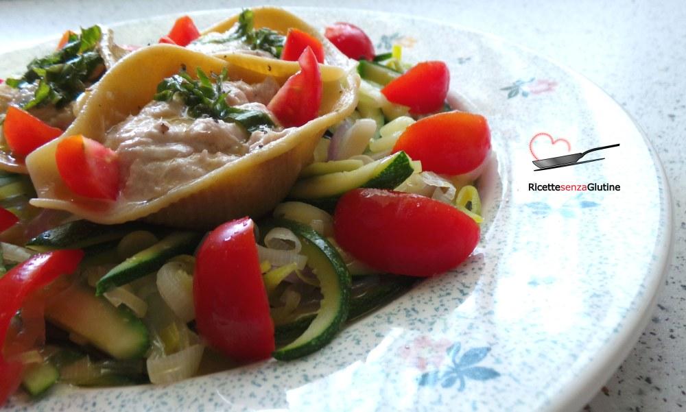 conchiglioni senza glutine con robiola e verdure marinate